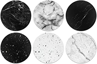 CARIBOU Coasters CB-WHTFAB-6-C0051, Black White Marble Design Absorbent Round Fabric Felt Neoprene Coasters for Drinks, 6p...