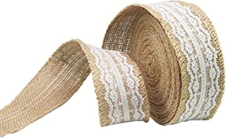 GHIFANT Burlap Lace Ribbon Natural Wedding Party Décor 1.97 in 10.9 Yards DIY Handmade Ribbon for Chair Cover Cup Gift Box