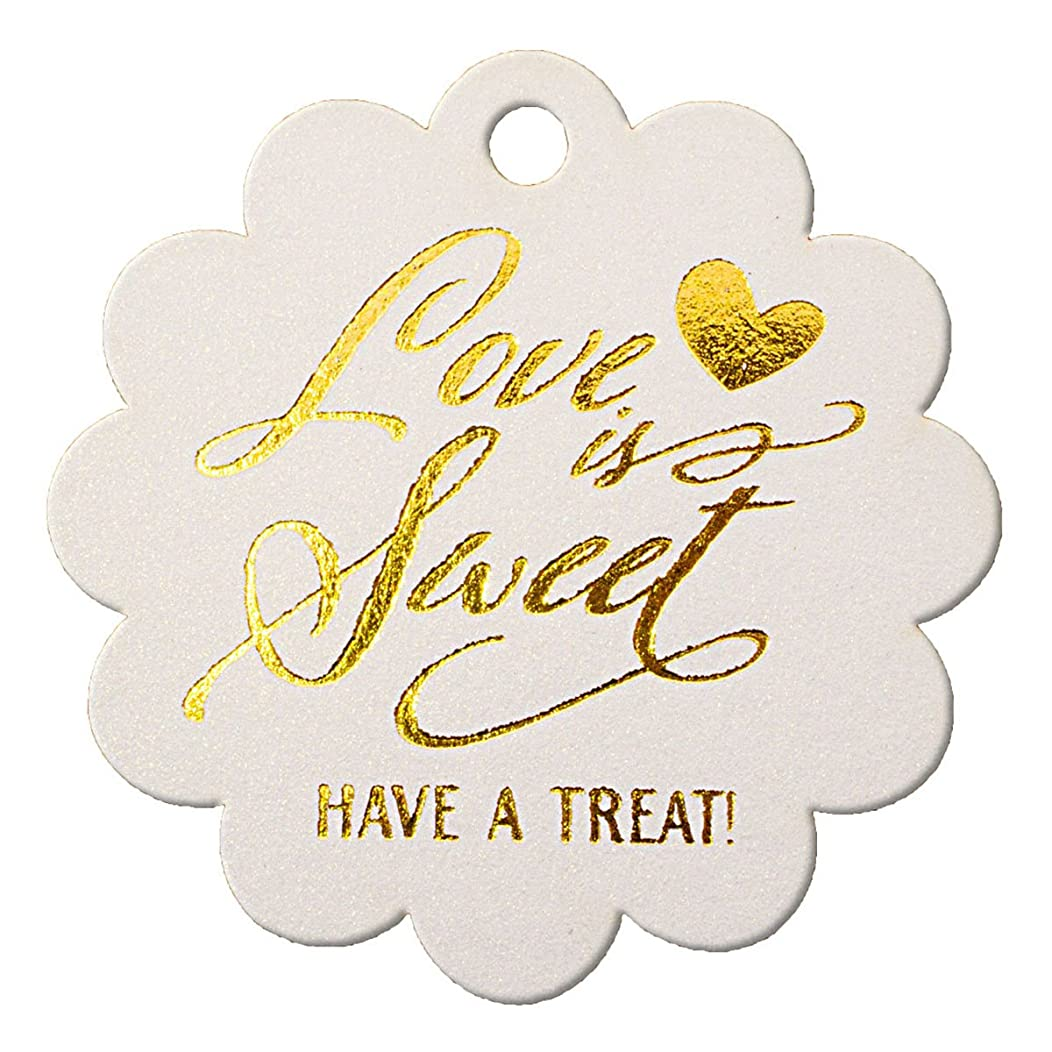 Summer-Ray 50pcs Gold Foil Hot Stamping Shimmered White Scallop Love is Sweet Have a Treat Wedding Favor Gift Tags