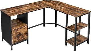 VASAGLE Bureau d'angle, Table en Forme de L, avec Caisson à dossiers Suspendus, 2 étagères, Bureau à Domicile, Montage Fac...
