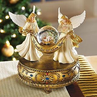 Image of Angel Musical Christmas Figurine with Baby Jesus Snow Globe