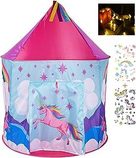 Georgie Porgy barn vikbar lekstuga portable tält lås Indoor Outdoor leksak trädgård regnbåge enhörning tält gratis för LED...