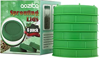 AOZITA 6 Pack Sprouting Lids for Wide Mouth Mason Jars - Food Grade Plastic Sprouting Jar Strainer Lid for Canning Jars - Sprouting Screen for Various Seeds, Beans - Come with 1 Instruction Book