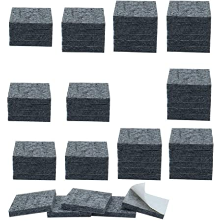 Now & Zen Self Adhesive Square Furniture Felt Pads for Hard Surfaces - Non-Slip Heavy Duty Furniture Leg Guards (20 MM - Pack of 12, Dark Grey)