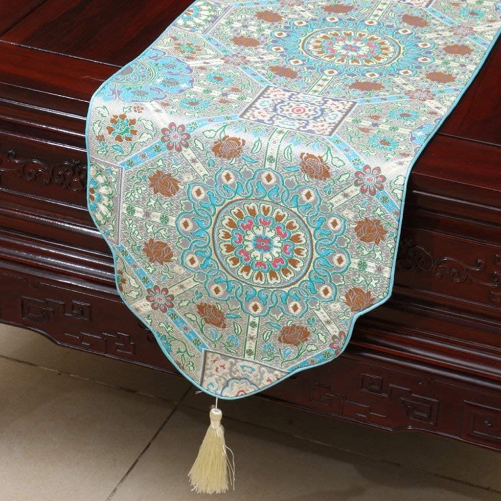 WPF Brief Brown Flower Pattern Cloth Max 45% OFF Runner It is very popular Simple Modern Table