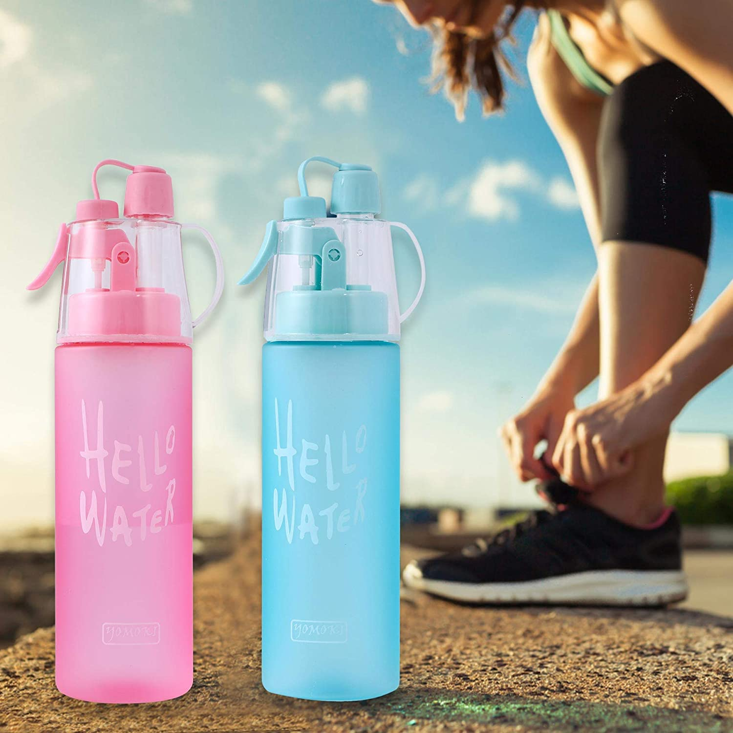 YOMOKI Sport Misting Water Bottle Leak Proof Portable Bottle Drinking and Spraying Misting Bottle for Cooling and Hydration-19.6 Oz