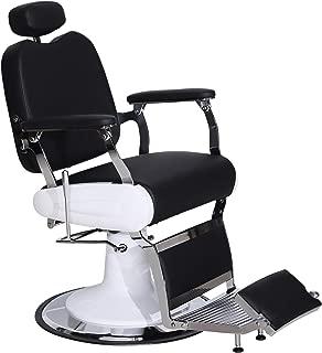 BarberPub Heavy Duty Metal Vintage Barber Chair All Purpose Hydraulic Recline Salon Beauty Spa Chair Styling Equipment 3835 (Black)