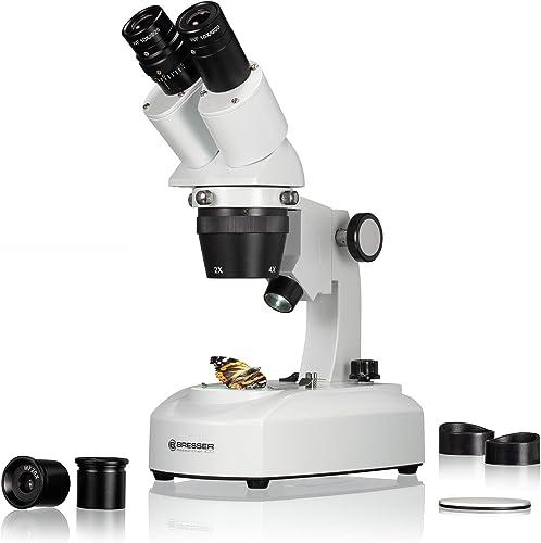 Bresser 5803100 Researcher ICD LED 20x-80x Microscopio, blanco