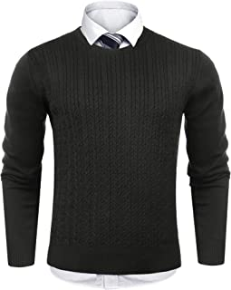 Sykooria Mens Pullover Twist Sweater Knitted Lightweight Slim Fit Long Sleeve Twisted Pullover Sweatershirts