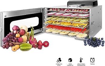 Novhome Déshydrateur Alimentaire inox 6 Plateaux Desydratateur fruits et legumes viande Professionnel avec Minuteur 24H Te...