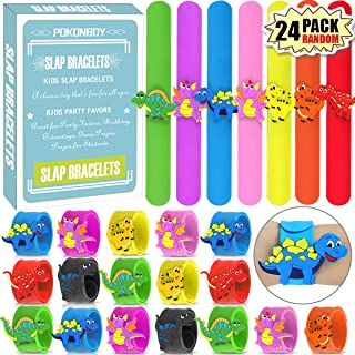 POKONBOY Dinosaur Slap Bracelets Dinosaur Party Favors - 24 Pack Silicone Slap Soft Dinosaur Bracelets Toys for Kids Dinos...