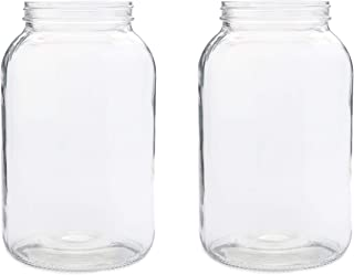 2 Pack ~ Wide Mouth 1 Gallon Clear Glass Jar - White Lid with Liner Seal for Fermenting Kombucha/Kefir, Storing and Canning/USDA Approved, Dishwasher Safe
