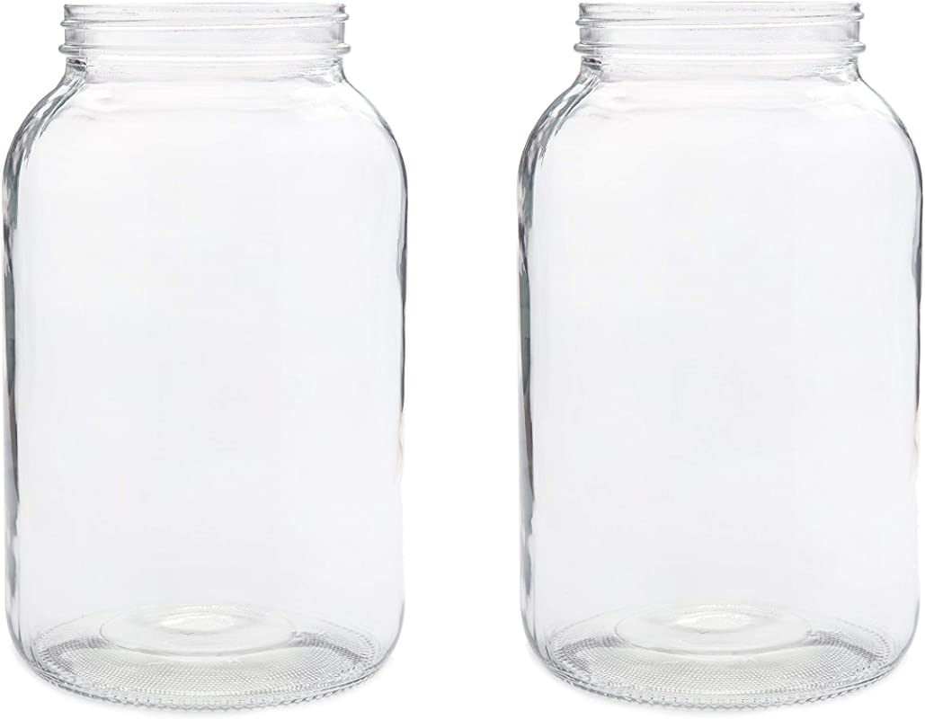 2 Pack Wide Mouth 1 Gallon Clear Glass Jar White Lid With Liner Seal For Fermenting Kombucha Kefir Storing And Canning USDA Approved Dishwasher Safe