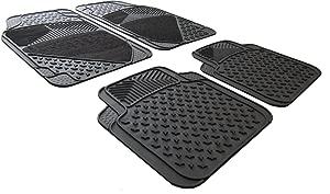 XtremeAuto Rubber And Carpet Car Mats Heavy Duty High Non-Slip Includes Sticker