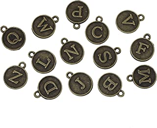 145 Pc Bronze Tone Random Alphabet Letter Pendants, 13x15mm Typewriter Keys Look - DIY Crafts, Jewelry Making, Charms