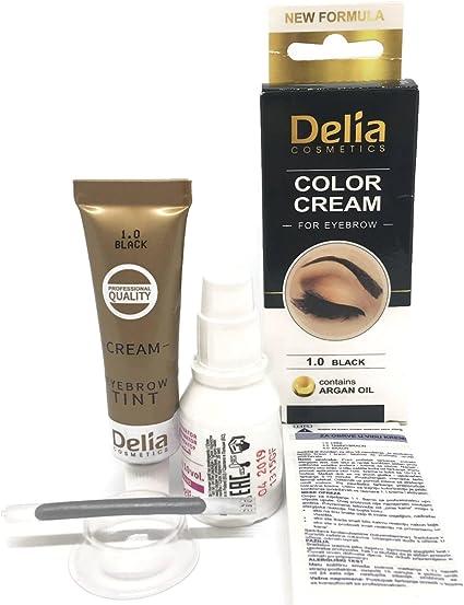 Tinte profesionales para cejas y pestañas profesionales, 14ml KIT Delia Negro/Marrón/Marrón Oscuro (Negro)