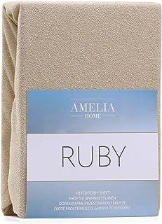 AmeliaHome Drap-housse en coton éponge 140 x 200-160 x 200 cm Beige foncé