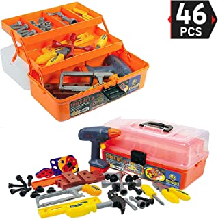 Liberty Imports 46-Pieces Deluxe Kids Handyman Pretend Play Toy Tool Box with Realistic Power Tools Set - Construction Workshop Toolbox STEM Toys