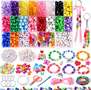 PP OPOUNT Pony Beads Kit Beads for Bracelets Includes 18 Colors Rainbow Beads (9mm), Letter Beads, Heart Beads, Star Beads...