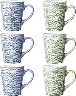 DOWAN Porcelain Mugs for Coffee, Tea, Cocoa, 13 Ounces, Set of 6, Blue and Green