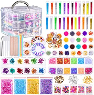 Anezus Resin Jewelry Making Supplies Kit for Resin Art Supplies Jewelry Making Kit with Resin Glitter, Wheel Gears Dry Flo...