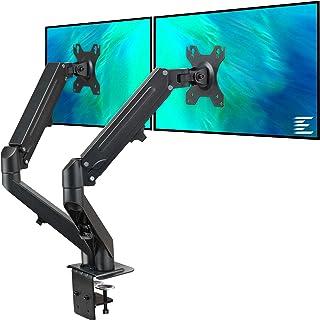 Dual Arm Monitor Desk Mount Height Adjustable, Tilt, Swivel, Counterbalance Gas Spring Stand | VESA Bracket Arm Fits Most ...