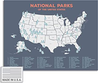 """USA National Park Map (24"""" x 17"""") - Interactive Educational National Park Poster of All 59 US National Parks – US Adventure Map Wall Art Gift - Made in the USA on Heavy-Duty Cardstock"""