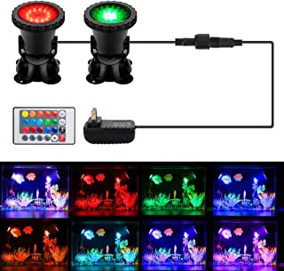 Pond Light, DOCEAN Waterproof Underwater Submersible Spotlight with Remote, 2 Pack Multi-Color & Adjustable & Dimmable Aquarium Light, Fountain Waterfall Garden Pond Pool Tank Lights(Upgraded)