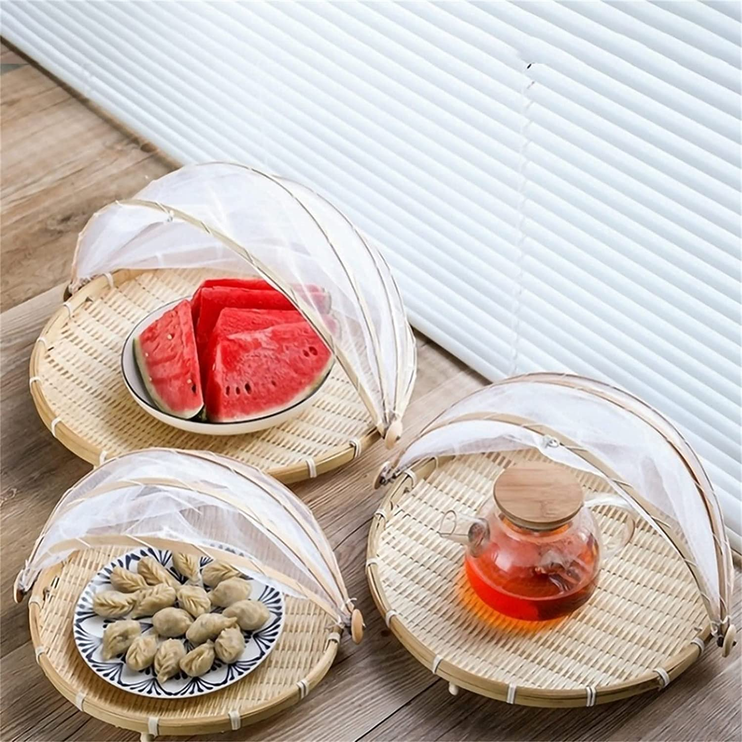 WOIE Hand-Woven Food Serving Tent Basket Tray Fruit Vegetable Bread Storage Basket Simple Atmosphere Outdoor Picnic Mesh Net Cover (D)