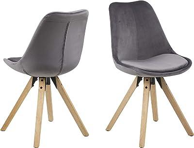 Marque Amazon - Movian Arendsee - Lot de 2chaises de salle à manger, 55 x 48,5 x 85 cm, Gris