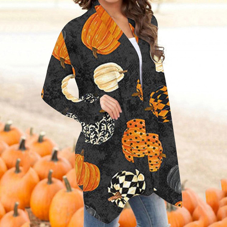 BABAKE Halloween Cardigan for Women,Women Open Front Cute Pumpkin Animal Lightweight Coat Long Sleeve Blouse