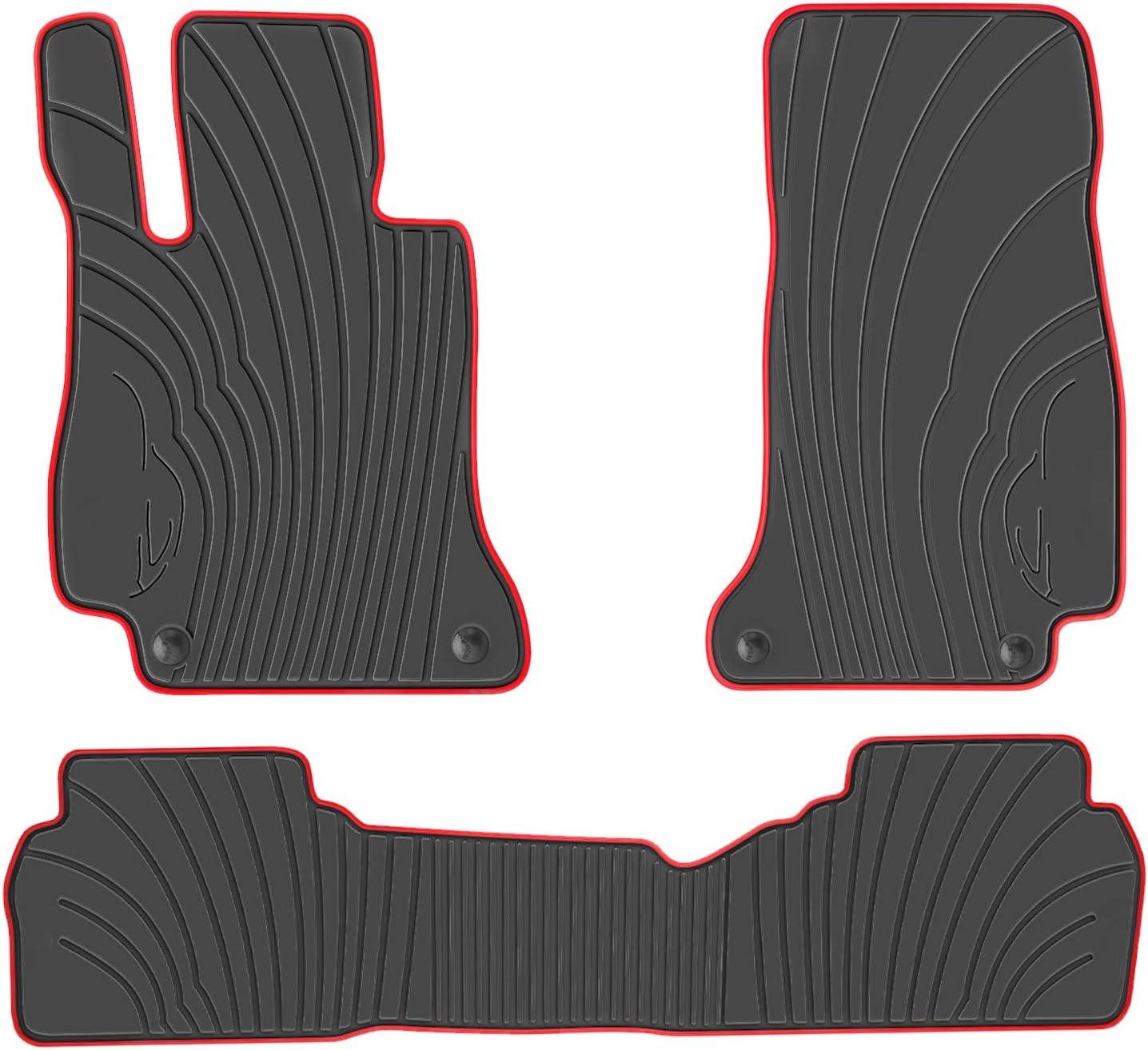San Auto Car Floor Mat for Mercedes-Benz E-Class 2017 2018 2019 2020 E300 E320 E400 E350 E63 E550 Custom Fit Black Red Rubber Auto Floor Mats Set All Weather Heavy Duty Odorless
