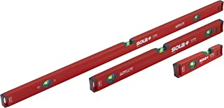 SOLA LSX482410 X PRO Aluminum Box Profile Spirit Level Set with 60% Magnified Vials, 10, 24 & 48-Inch, Red