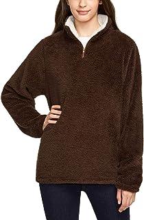 TSLA Women's Long Sleeve Sherpa Pullover, Quarter Zip Fuzzy Fleece Sweatshirts, Warm Soft Fluffy Fleece Winter Tops