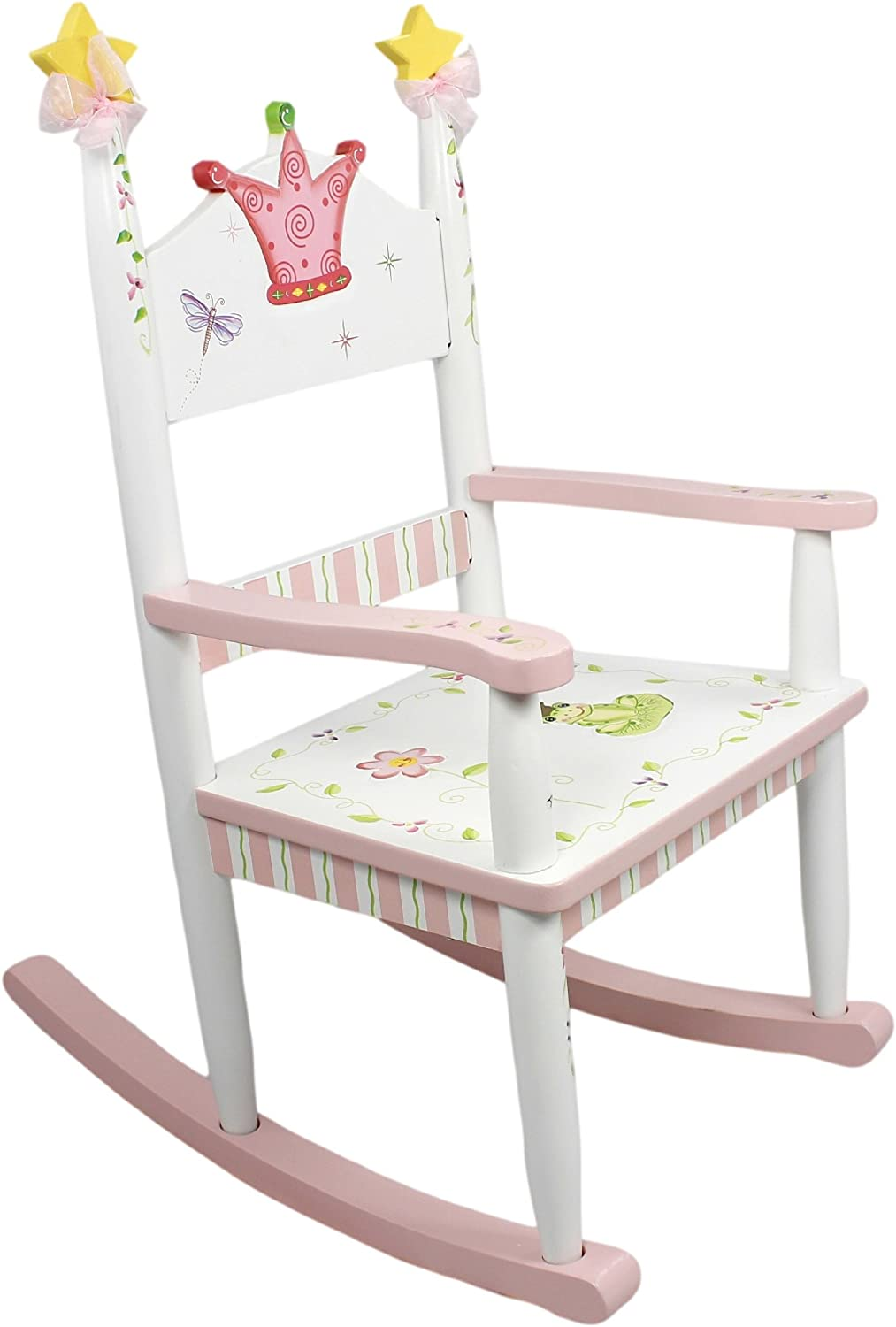 Fantasy Fields - Princess & Frog Thematic Kids Wooden Rocking Chair   Imagination Inspiring Hand Crafted & Hand Painted Details   Non-Toxic, Lead Free Water-based Paint