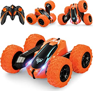 Remote Control Car,2.4GHz Electric Race RC Stunt Car, Double Sided 360°Flips Rotating Vehicles with LED Headlights,4WD Hig...