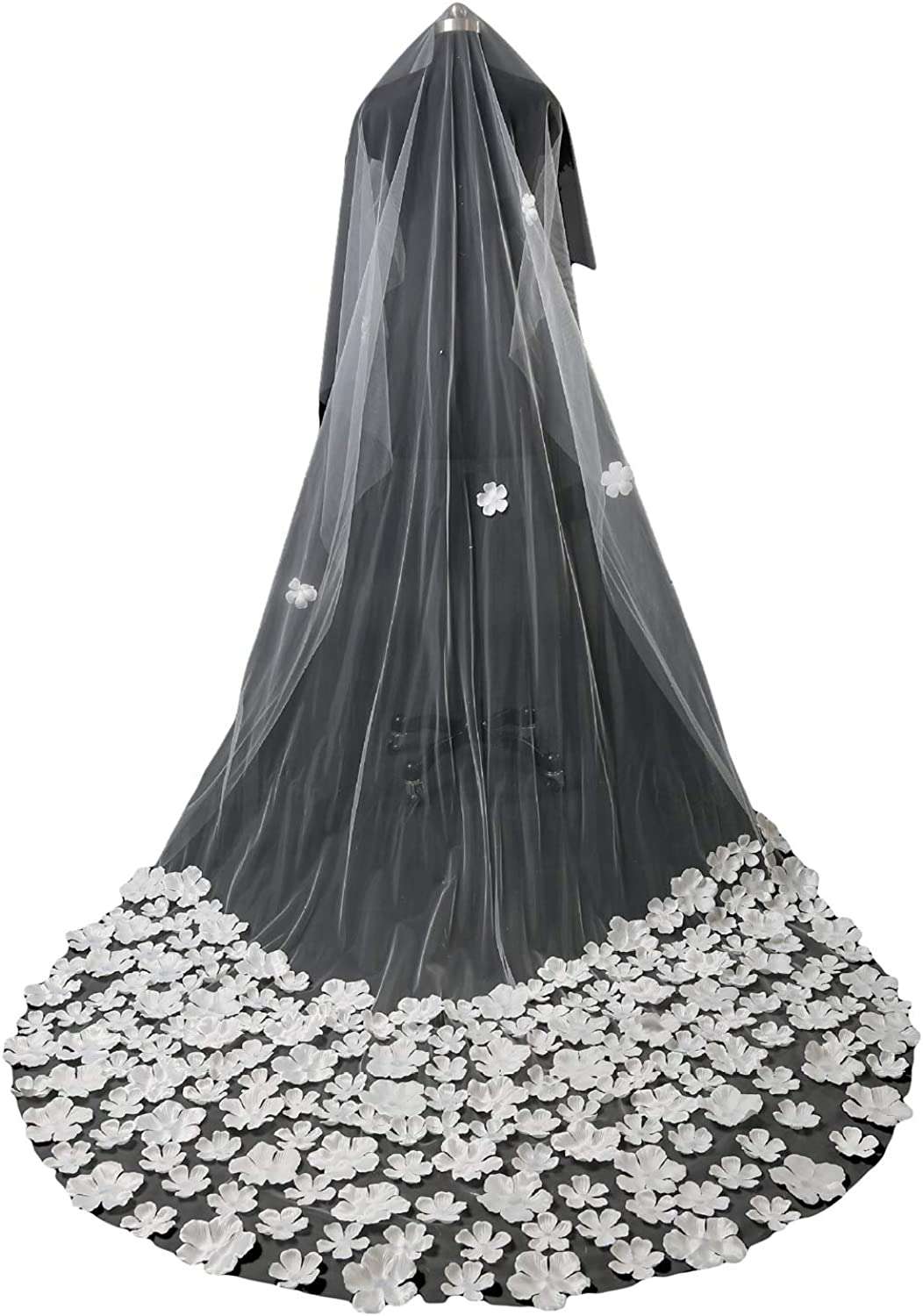 Fenghuavip Flowers Cathedral Wedding Veil 3 M 1 Tier Tulle Bridal Veils