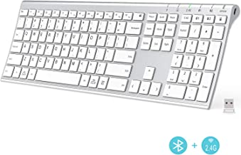 iClever Bluetooth Keyboard - 2.4G Wireless Keyboard Rechargeable Bluetooth 4.2 + 2.4G Multi Device Keyboard, Ultra-Slim Full Size Dual Mode White Keyboard for Mac, iPad, iPhone, Windows, Android, iOS