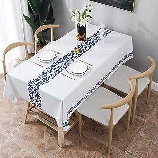Essort Rectangle Mantel para Mesa PVC Hule Mantel Cuadrado para Comedor, Impermeable y Prueba de Aceite Vid Azul 137 x 220 cm