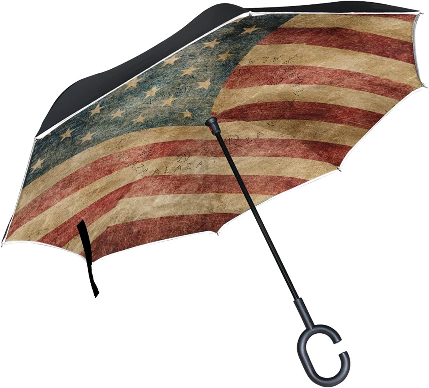 MAPOLO American Flag Ingreened Double Layer Windproof Straight Umbrellas InsideOut Folding Umbrella with CShaped Handle for Car Use