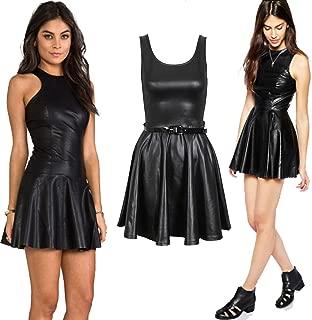 Womens Wet Look PVC Belted Plus Size Flared Celebrity Skater Dress 8-26(XXL UK 20-22, EU 46-48, US 16-18 Black)