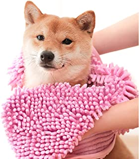 ColorYLife Dog Towel - Microfiber Super Shammy with Hand Pockets, Ultra Absorbent Quick Dry Pet Bath Towels for Small, Medium, Large Dogs and Cats