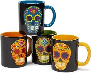 Calavera Skull Multicolored 5 x 4 Dolomite Ceramic Day Of The Dead Mugs Set of 4