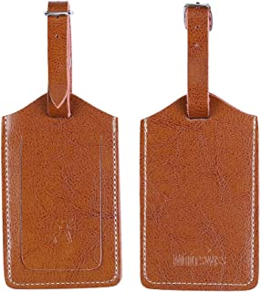 Genuine Leather Luggage Bag Tags 2 Pieces Set in 2 Colors Mont Swiss (Brown)