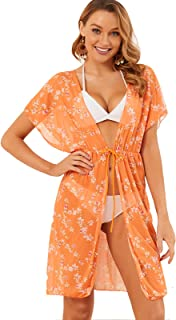 Women's Pool Swimsuit Cover-Up Floral Kimono Cardigan Sarong Beach Blouse Dress Tulle Long Beach-wear for Swimwear Bikini ...