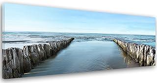 Feeby Frames Cuadro en Lienzo, Cuadro Impresión, Cuadro Decoración, Canvas de una Pieza, 40x120 cm, Mar, Agua, Vista, Paisaje, Azul