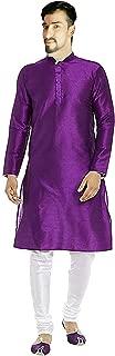 Lakkar Haveli Men's Silk Kurta Purple Color Tunic Casual Shirt Plus Size