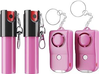 بسته نرم افزاری کلید اسپری فلفل و زنگ هشدار شخصی ARMADILLO DEFENSE (4 بسته) برای محافظت و دفاع از خود ، محافظتی برای زنان و مردان ، دکمه گاز اشک آور و هراس (صورتی)