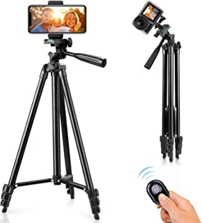 "Phone Tripod, 51"" Tripod for iPhone Cell Phone Tripod with Phone Holder and Remote Shutter, Compatible with iPhone/Android..."