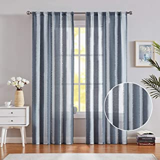 """Fragrantex White Blue Striped Sheer Curtains with Eyelash Detailing for Bedroom 96"""" Long Voile Window Treatment Set for Living Room Draperies 38"""" Width x 2 Panels"""